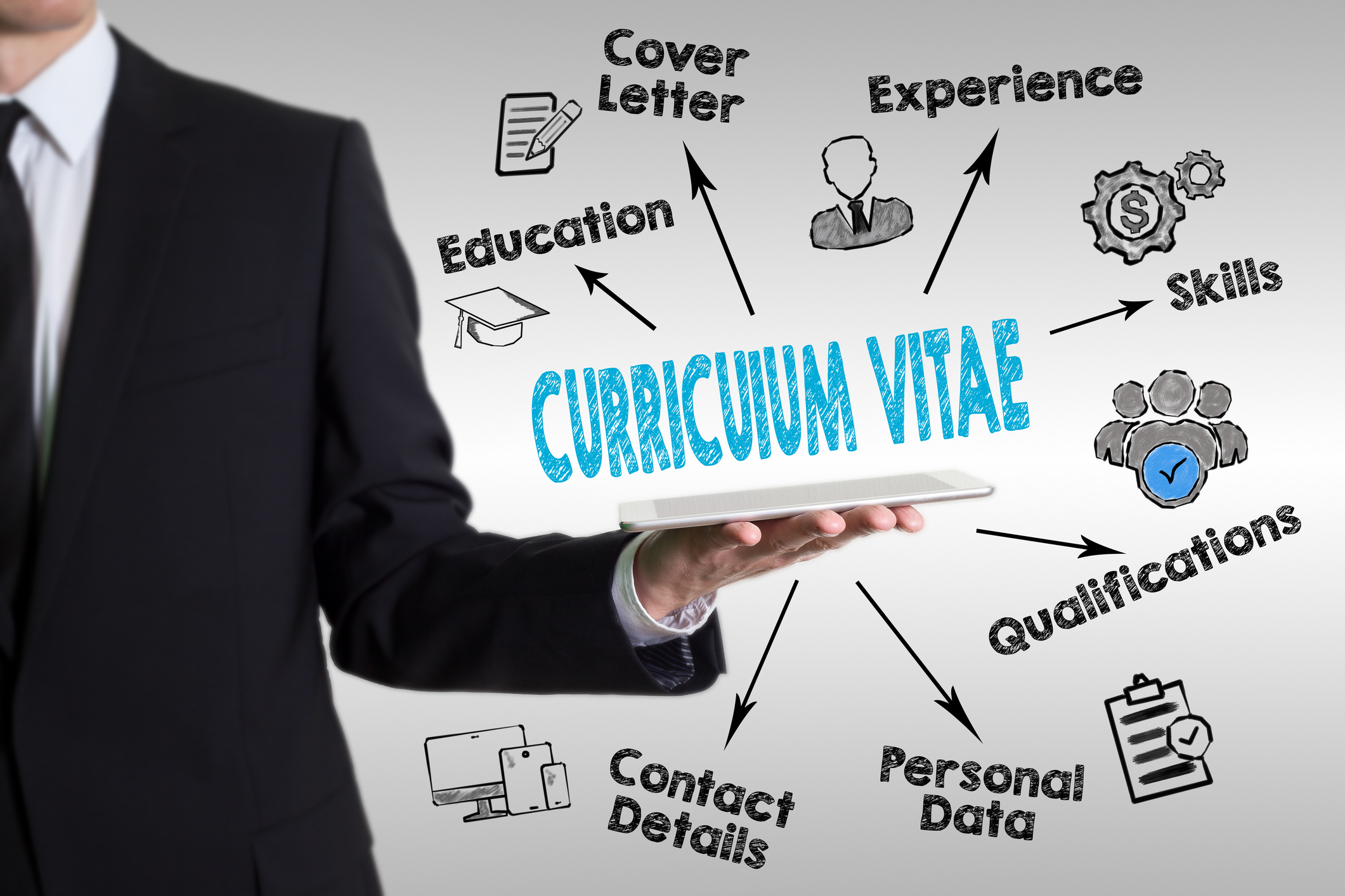 Curriculum Vitae concept. Man holding a tablet computer